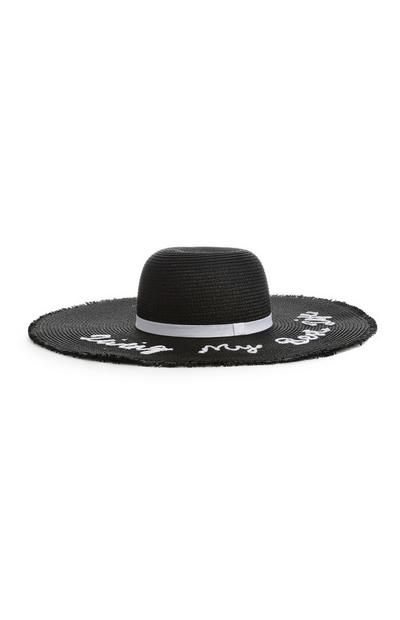Black Slogan Floppy Hat