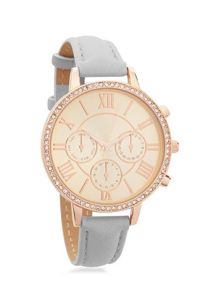Grey Watch With Diamonte Finish