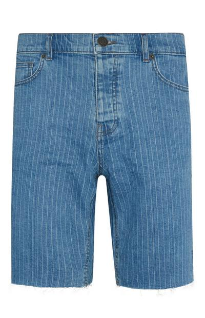 Blau gestreifte Jeansshorts