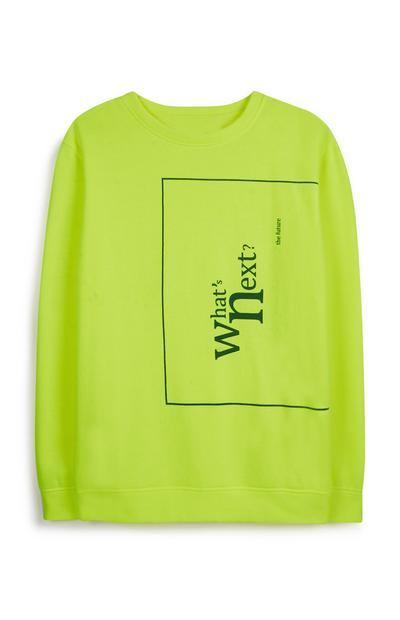 Neongrünes Sweatshirt mit Slogan
