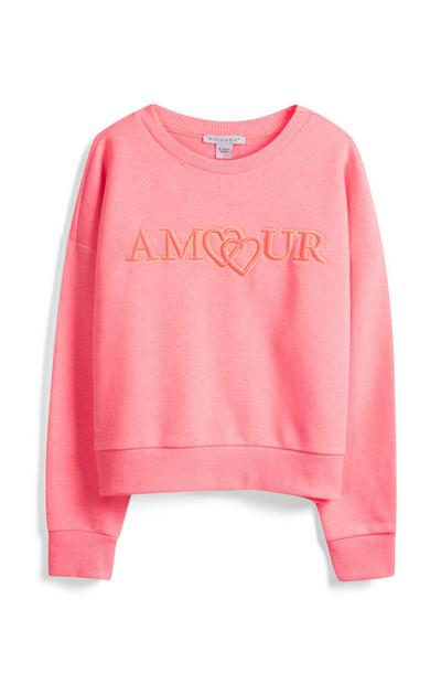 Older Girl Pink Neon Sweatshirt