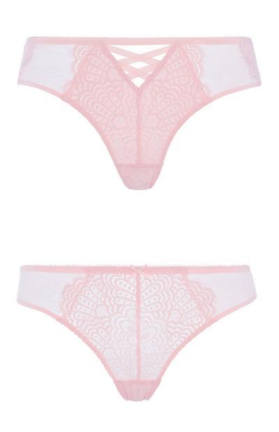 Rosafarbene Spitzenslips, 2er-Pack