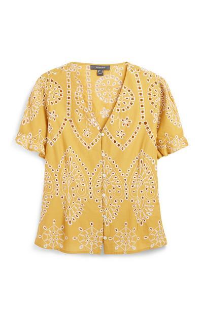 Bestickte Bluse in Gelb
