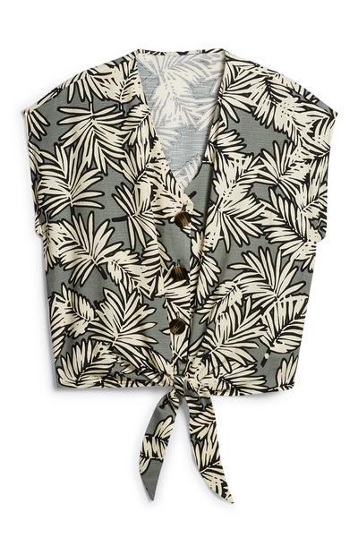 Bluse mit Zierknoten und Blattmuster