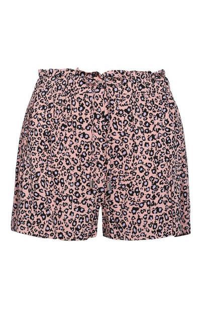 Pink Leopard Print Shorts