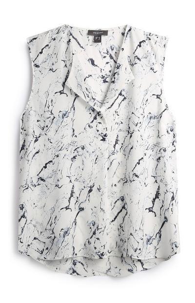 Ärmellose Bluse mit Marmormuster