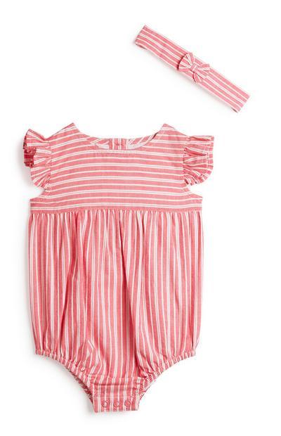 Gestreiftes Neugeborenen-Outfit (M), 2-teilig