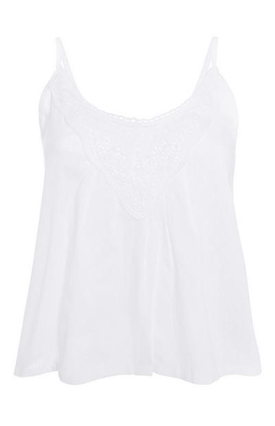 Weißes Pyjama-Trägertop