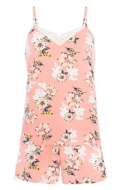 Korallfarbenes Pyjamaset mit Blumenprint