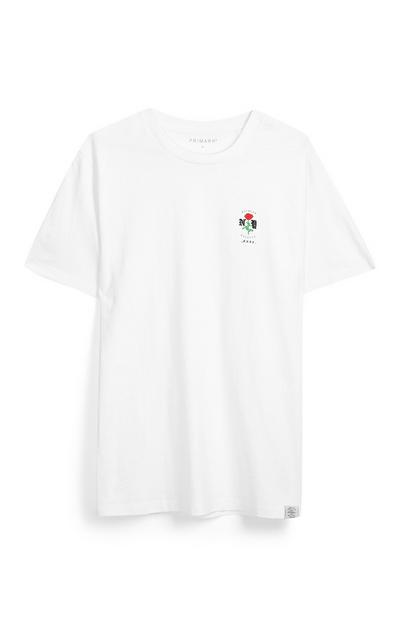 Weißes T-Shirt mit Rose