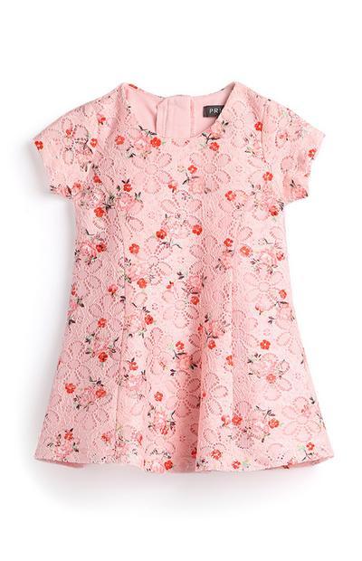 Pinkes Kleid mit Blumen für Babys (M)
