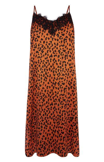 Trägerkleid in Orange mit Animal-Print