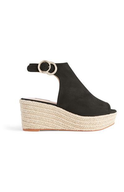Schwarze Sandaletten mit Keilabsatz