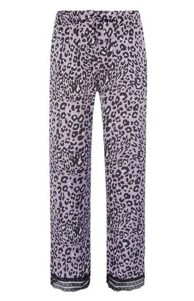 Pyjamahose mit Animalprint in Lila