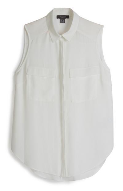 Ärmelloses Hemd in Weiß