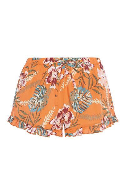 Orange Pyjamashorts mit Blumenmuster