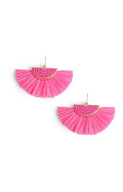 Pinkfarbene Fächer-Ohrringe