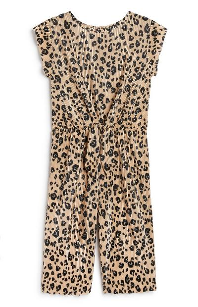 Younger Girl Animal Print Jumpsuit