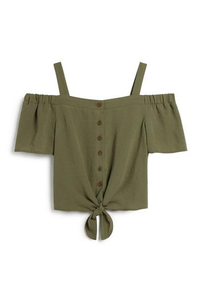 Older Girl Khaki Top