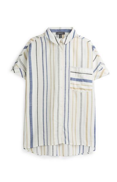 Blau gestreiftes Oversize Hemd