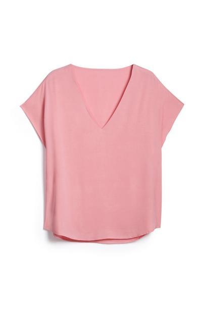 Rosafarbenes T-Shirt mit V-Ausschnitt