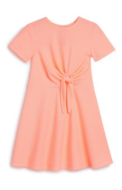 Baby Girl Neon Tie Front Dress