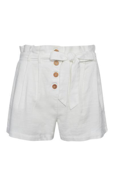 White Linen Frill Short