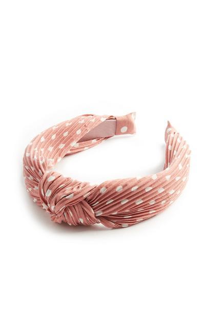 Roséfarbenes Haarband mit Pünktchen