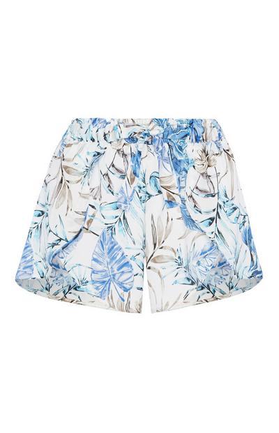 Blaue Satin-Pyjamashorts mit Blumen