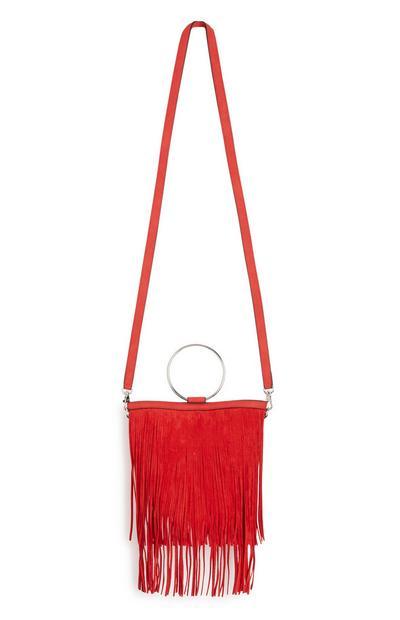 Rote Tasche mit Fransen