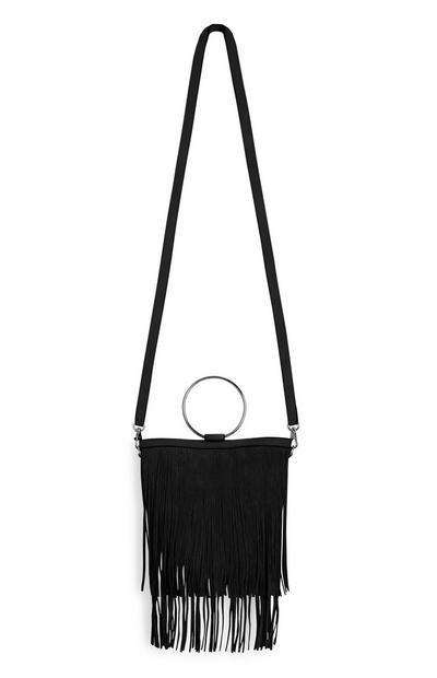 Schwarze Tasche mit Fransen