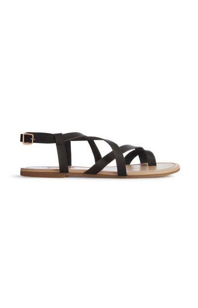 Schwarze Sandalen mit Zehenschlaufe