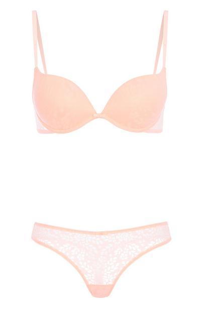 Coral Lace Underwear Set