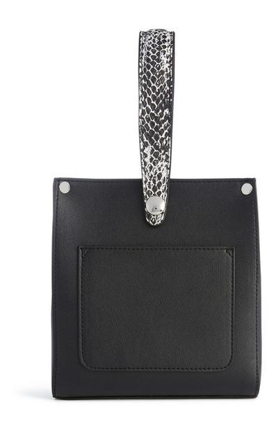 Schwarze Tasche mit rundem Henkel