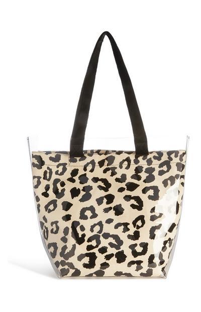 Transparente Tasche mit Leopardenmuster