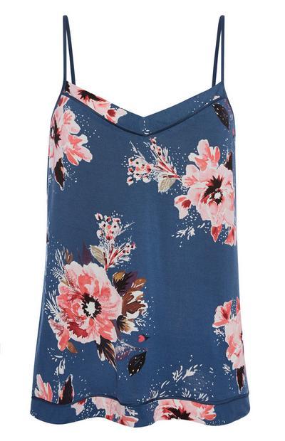 Blaues Pyjama-Trägertop mit Mohnblumen