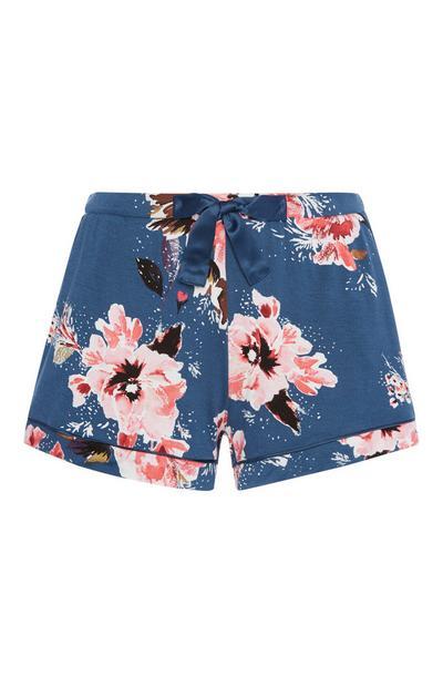 Blaue Pyjamashorts mit Blumenmuster