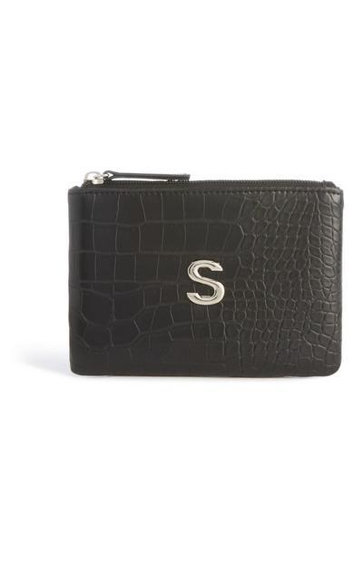 Tasche mit Initiale und Schlangenprint