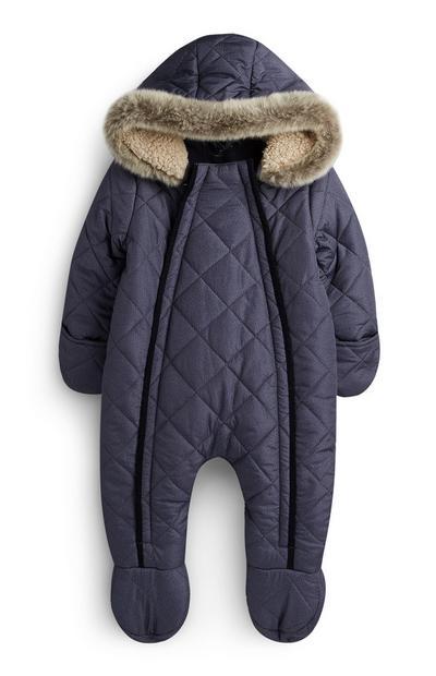 Newborn Boy Grey Snowsuit