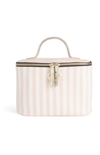 Kastenförmige Tasche mit rosa Streifen