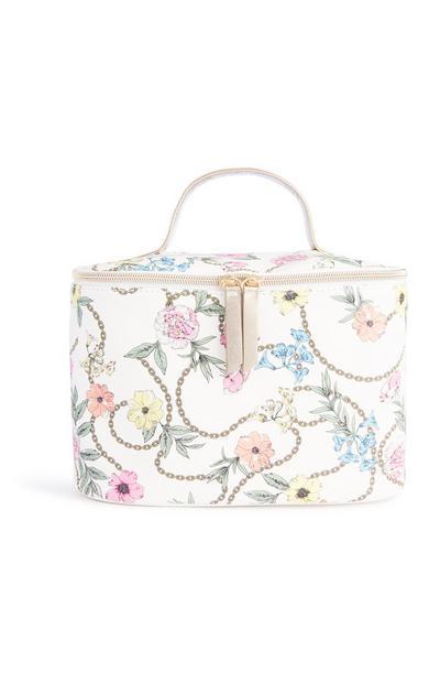 Kastenförmige Tasche mit Blumenmuster
