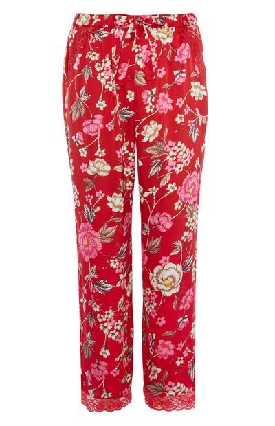 Rote Pyjamahose mit Blumenmuster