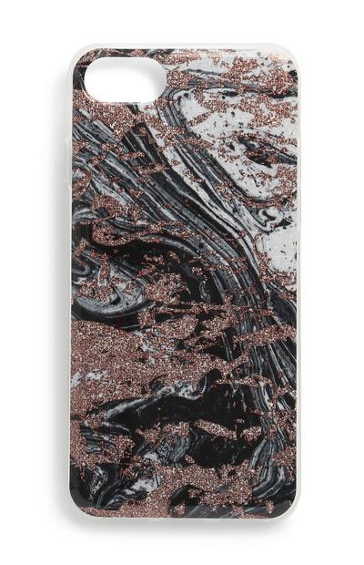 Handyhülle mit schwarzem Quarz-Print