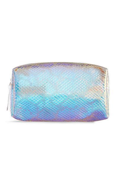 Make-up-Tasche mit Holo-Schlangenprint