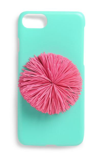 Handyhülle mit rosafarbenem Pompon