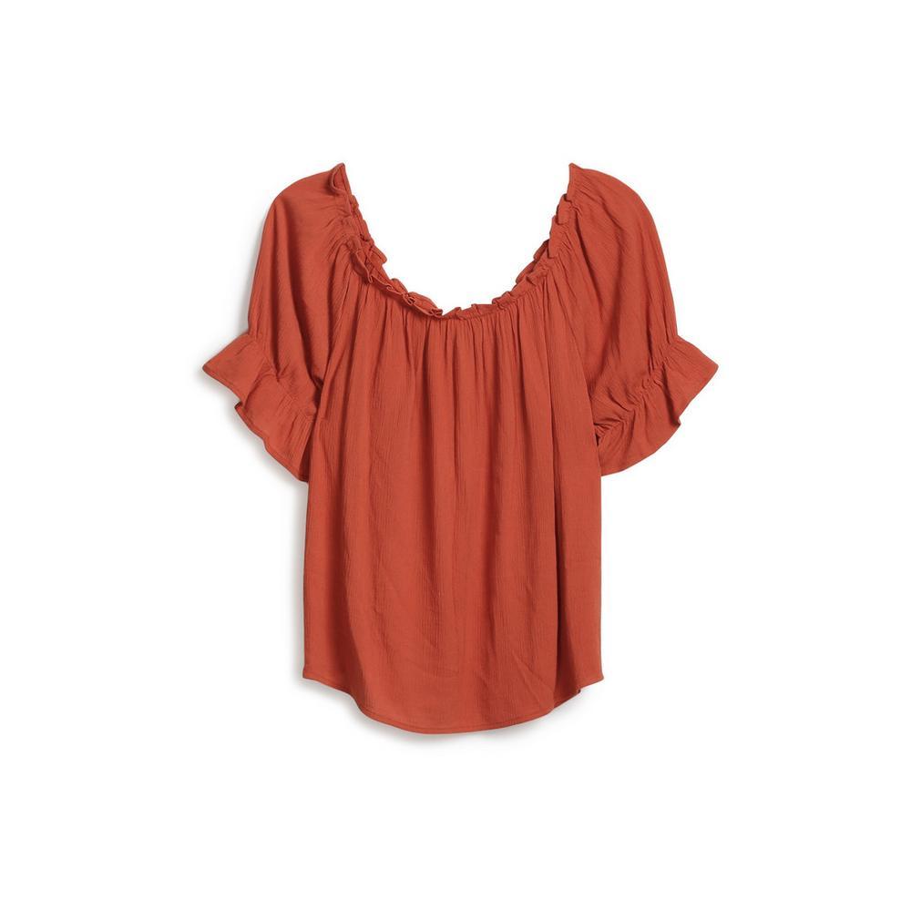 247685a1133 Frill Sleeve Bardot Top | Shirts | Tops | Womens | Categories ...