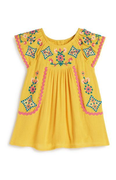 Gelbes Kleid mit Blumen für Babys (M)
