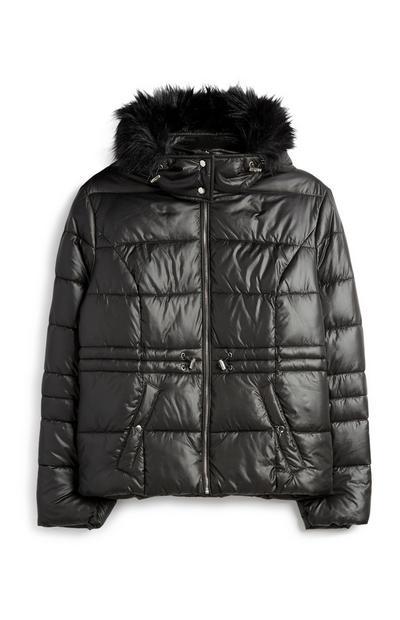 Black High Shine Padded Coat