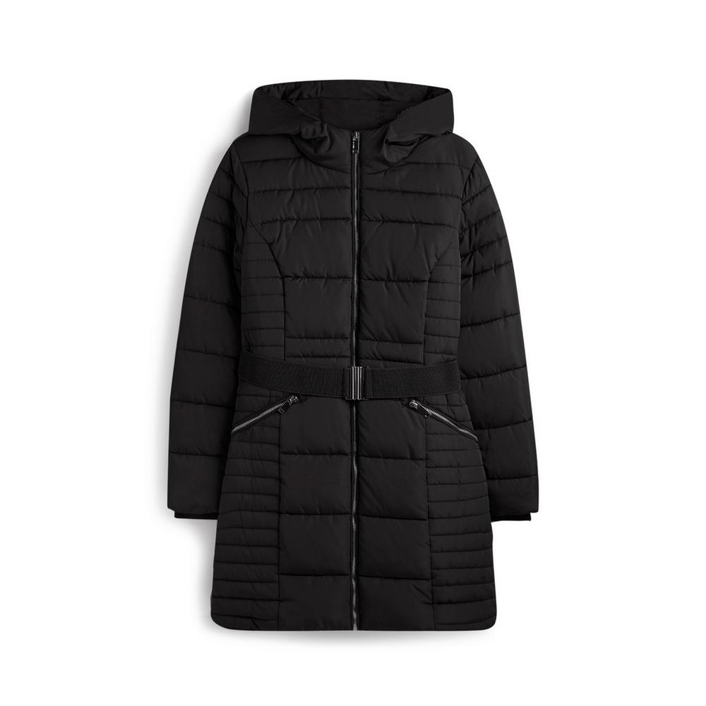 reliable reputation meticulous dyeing processes united kingdom Black Belted Padded Coat | Coats | Coats jackets | Womens ...