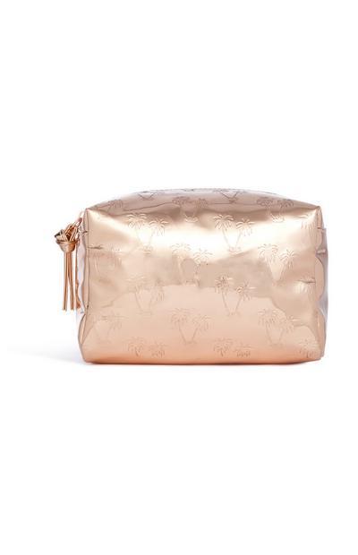 Make-up-Tasche in Gold mit Palmenmuster